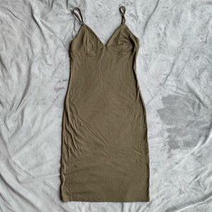 Khaki ribbed mini dress